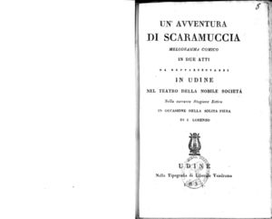 Un'avventura di Scaramuccia : melodramma comico in due atti