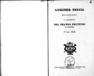 Lucrezia Borgia : melodramma da rappresentarsi nel Teatro Eretenio di Vicenza l'estate 1838