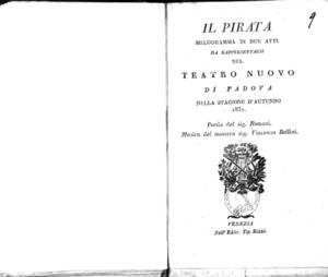 Il pirata : melodramma in due atti da rappresentarsi nel Teatro Nuovo di Padova nella stagione d'autunno 1831