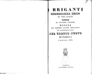 I Briganti : melodramma serio in tre parti