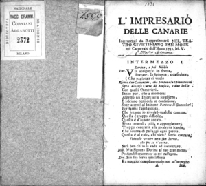 L'impresario delle Canarie intermezzi da rappresentarsi nel Teatro Giustiniano San Moise nel carnevale dell'anno 1731. M.V