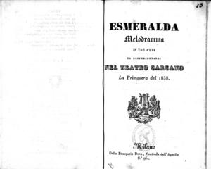 Esmeralda : melodramma in tre atti