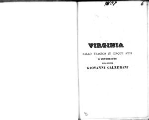 Virginia : ballo tragico in cinque atti