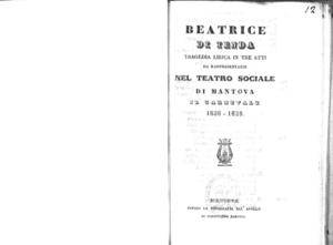 Beatrice di Tenda : tragedia lirica in tre atti
