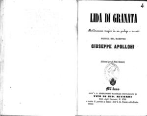 Lida di Granata : melodramma tragico in un prologo e tre atti
