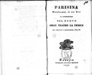 Parisina : melodramma in tre atti
