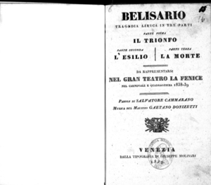 Belisario : tragedia lirica in tre parti