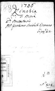 Zenobia, dramma per musica da rappresentarsi nel Teatro Giustinian di S. Moisè l'autunno dell'anno 1746
