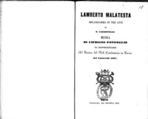 Lamberto Malatesta : melodramma in tre atti