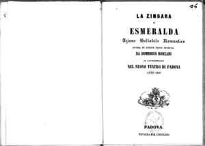 La zingara o Esmeralda : azione ballabile romantica divisa in cinque parti