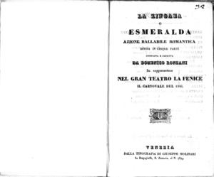La zingara, o Esmeralda : azione ballabile romantica divisa in cinque parti