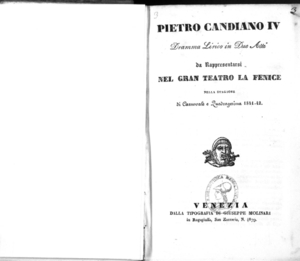Pietro Candiano 4. : dramma lirico in due atti da rappresentarsi nel Gran Teatro La Fenice nella stagione di carnovale e quadragesima 1841-42