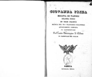 Giovanna Prima regina di Napoli : dramma serio in tre parti