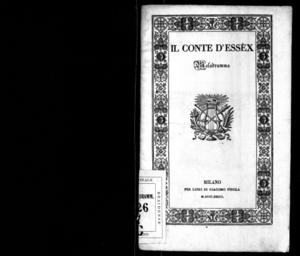 Il conte d'Essèx : melodramma in tre atti
