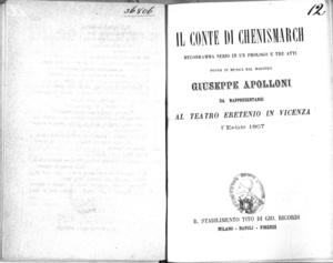 Il Conte di Chenismarch : melodramma serio in un prologo e tre atti