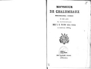 Monsieur de Chalumeaux : melodramma comico in due atti da rappresentarsi nell'I. R. Teatro alla Scala il carnevale 1838-39
