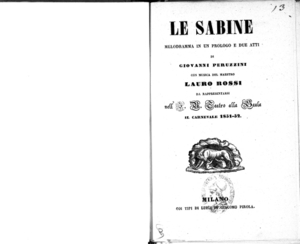 Le Sabine : melodramma in un prologo e due atti