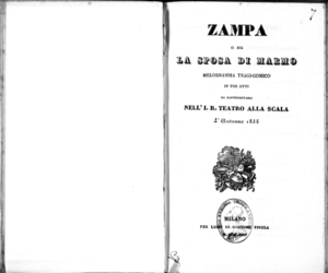 Zampa o sia la sposa di marmo : melodramma tragi-comico in tre atti