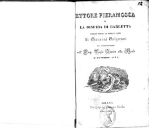 Ettore Fieramosca o La disfida di Barletta : azione mimica in cinque parti