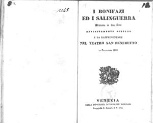 I Bonifazi ed i Salinguerra : dramma in due atti