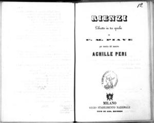 Rienzi : libretto in tre epoche