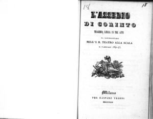 L'assedio di Corinto : tragedia lirica in tre atti da rappresentarsi nell'I. R. Teatro alla Scala il Carnevale 1842-43