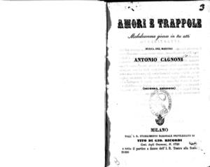 Amori e trappole : melodramma giocoso in tre atti