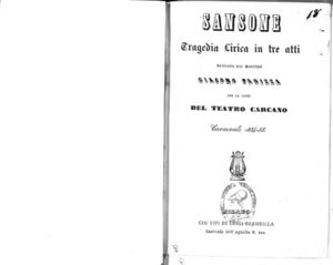 Sansone : tragedia lirica in tre atti