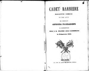 Cadet barbiere : balletto comico in tre atti