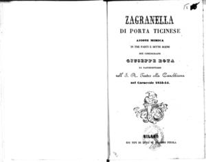 Zagranella di Porta Ticinese : azione mimica in tre parti e sette scene