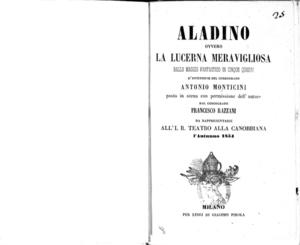 Aladino ovvero la lucerna meravigliosa : ballo magico fantastico in cinque quadri