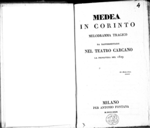 Medea in Corinto, melodramma tragico da rappresentarsi nel Teatro Carcano la primavera 1829