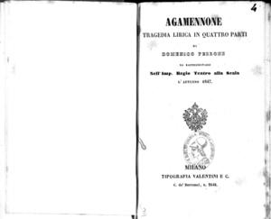 Agamennone : tragedia lirica in quattro parti