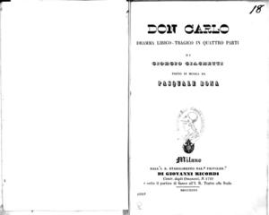 Don Carlo : dramma lirico-tragico in quattro parti