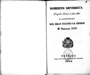 Roberto Devereux : tragedia lirica in due atti