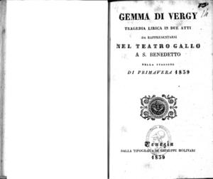 Gemma di Vergy : tragedia lirica in due atti