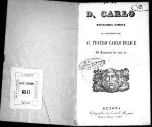 D. Carlo : tragedia lirica da rappresentarsi al Teatro Carlo Felice il carnovale del 1853-54