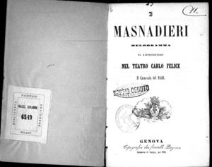 I masnadieri : melodramma da rappresentarsi nel Teatro Carlo Felice il Carnevale del 1849