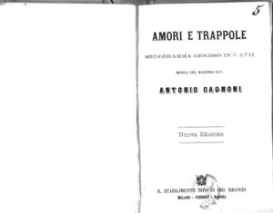 Amori e trappole : melodramma giocoso in 3 atti