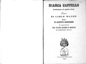 Bianca Cappello : melodramma in quattro parti
