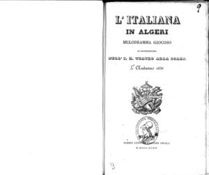 L'italiana in Algeri : melodramma giocoso