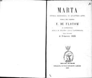 Marta : opera semiseria in quattro atti
