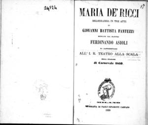 Maria de' Ricci : melodramma in tre atti