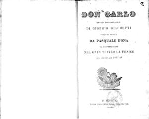 Don Carlo : dramma lirico-tragico