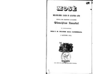 Mosè : melodramma sacro in quattro atti