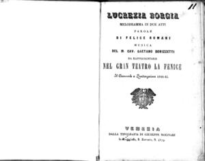 Lucrezia Borgia : melodramma in due atti da rappresentarsi nel Gran Teatro La Fenice il carnovale e quadragesima 1844-45