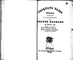 Torquato Tasso : melodramma in tre atti