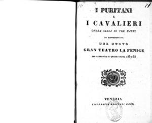 I Puritani e i Cavalieri : opera seria in tre parti