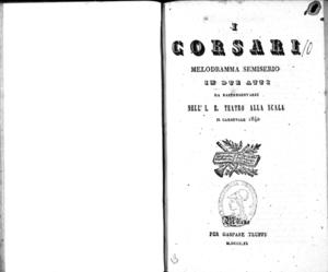 I Corsari : melodramma semiserio in due atti