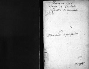 Enea e Lavinia, dramma per musica da rappresentarsi nel nobilissimo Teatro di San Samuele il carnovale dell'anno 1788